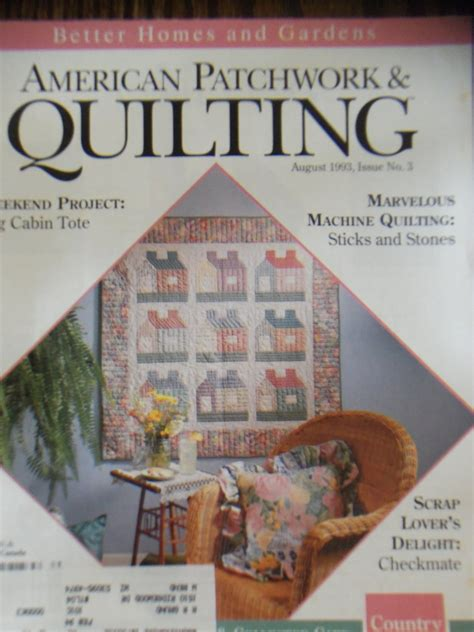 Patchwork And Quilting Magazine Back Issues - american patchwork quilting august 1993 issue 3 back