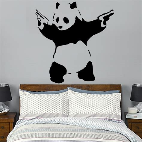 panda wallpaper for bedroom banksy gun toting panda wall decal art sticker lounge living room bedroom ebay