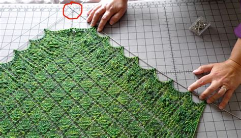how to block lace knitting using blocking wires to block a lace shawl interweave