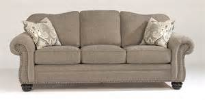 flexsteel living room one tone fabric sofa with nailhead