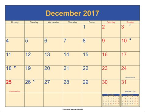 Calendar December 2017 Printable December 2017 Calendar Printable With Holidays Pdf And Jpg