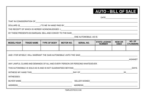 auto bill of sale auto bill of sale template