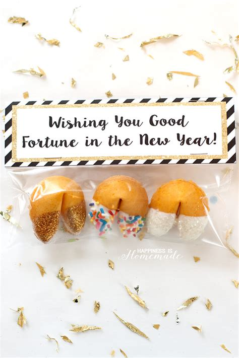 new year fortune glitter dipped fortune cookie favors happiness is
