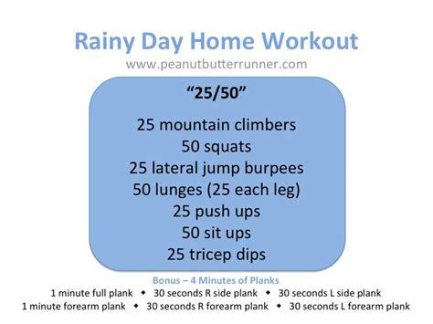 rainy day home workout peanut butter runner