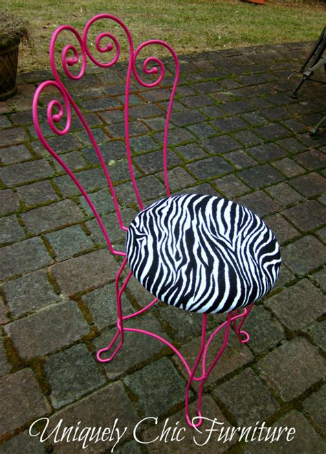 pink and zebra print vanity chair by suezcues on etsy