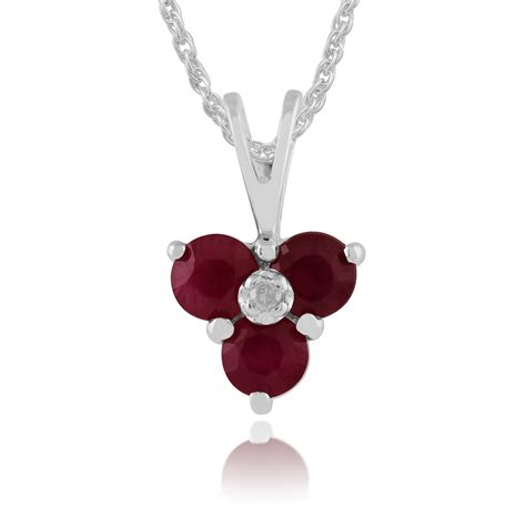 Ruby 7 9ct 9ct white gold 0 43ct ruby cluster pendant on