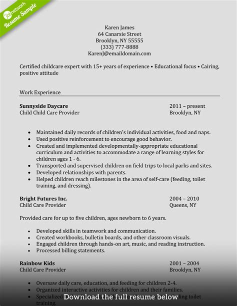 Resume Sles For Child Caregiver How To Write A Caregiver Resume Exles Included