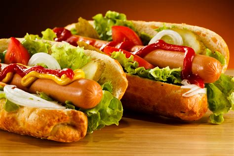 fast food dogs image buns ketchup fast food vienna sausage food vegetables