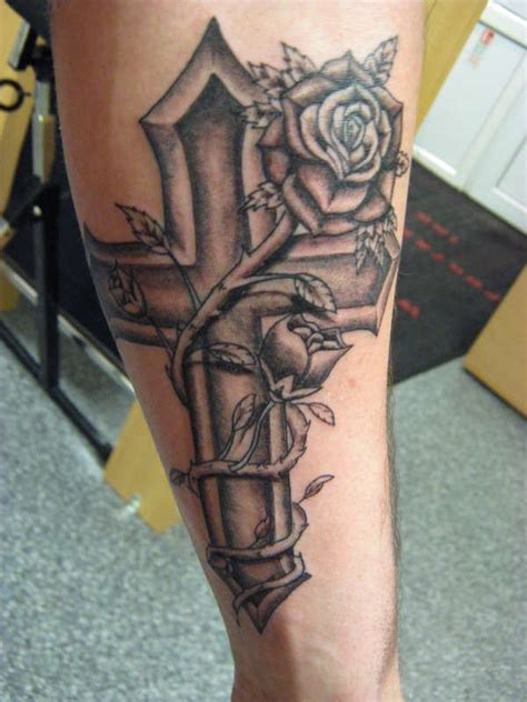 rose with cross tattoo designs cross and designs cross ribbon