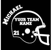 Custom Vinyl Football Helmet With Name Team &amp  Car