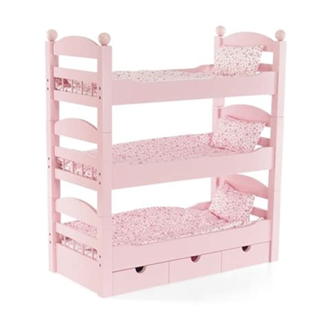beds for dolls 18 inch doll furniture stackable pink triple bunk bed