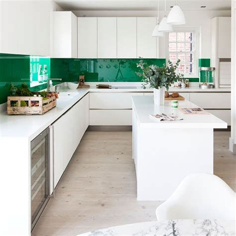 green and white kitchen ideas glossy green and white kitchen modern kitchen ideas housetohome co uk