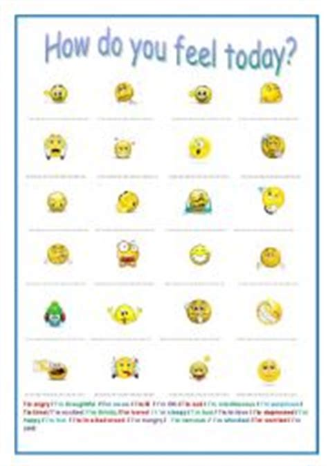 english bunghole how do you feel today english teaching worksheets feelings