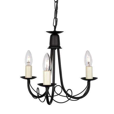 Black 3 Light Chandelier Minster 3 Light Chandelier Black