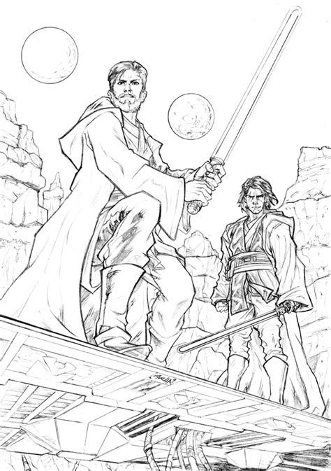 obi wan vs anakin coloring pages