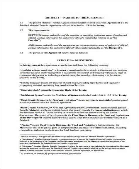 material transfer agreement template material transfer agreement template 9 transfer agreement