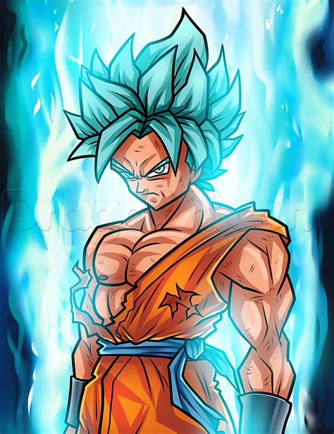 Kaos 3d Sayan 5 Blue drawing saiyan blue goku step by step step by step