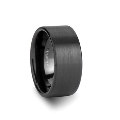 santa fe flat black tungsten wedding band  men