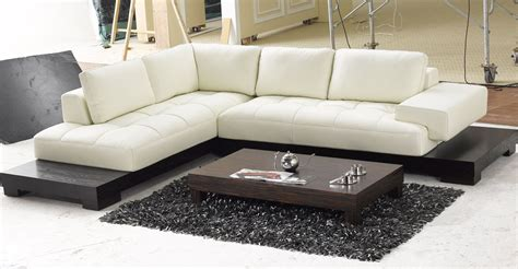 L Sectional Sofa Contemporary L Shaped Leather Sectional Sofa With Modern Wood Base Tosh Ebay