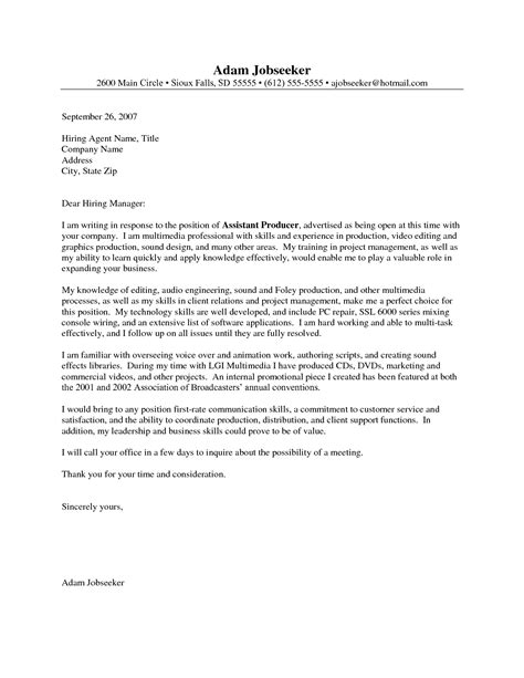 Entry Level Cover Letter Sle by Entry Level Cover Letter Exle Cover