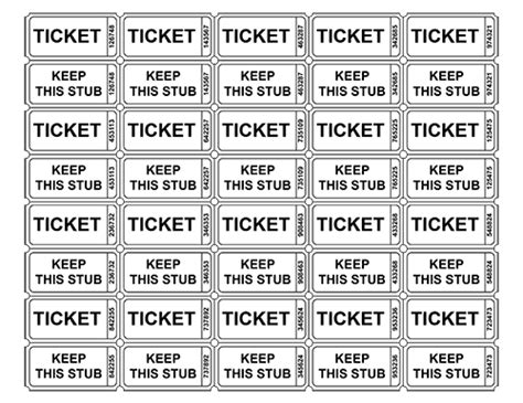 printable raffle ticket template free printable raffle ticket templates blank