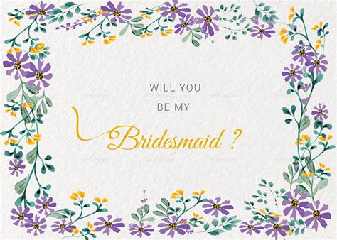 will you be my bridesmaid card template garden wedding will you be my bridesmaid card template in