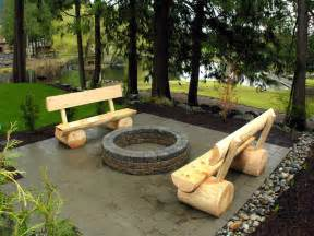 Firepit Bench Custom Built Log Benches And Wood Burning Pit In The Flickr
