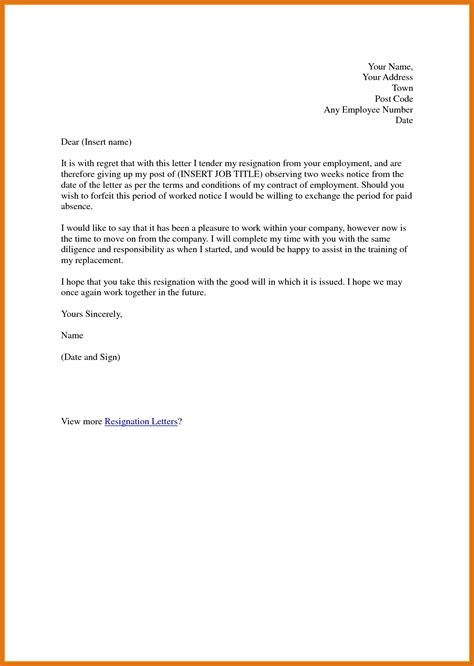 2 Weeks Notice Email Letter Format Business Two Week Notice Email Template