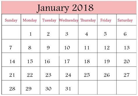 printable january 2018 calendar cute january 2018 calendar printable calendar 2018