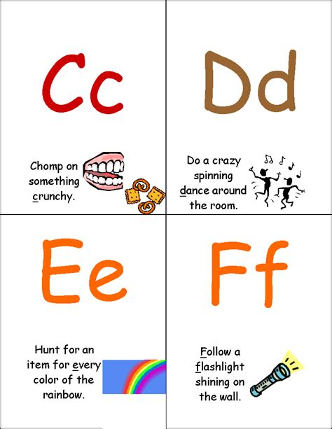 printable alphabet movement cards training happy hearts alerting activity abc cards