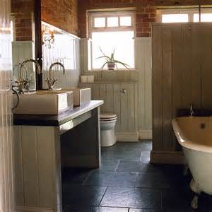 Tongue And Groove Bathroom Ideas by Bathroom With Panelling Stone Floor And Modern Suite