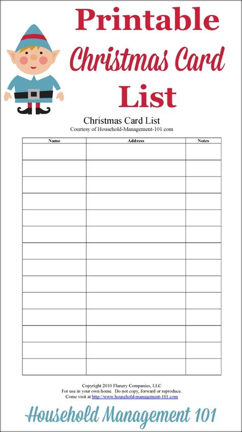 free printable card list templates card list printable plan who you ll send cards