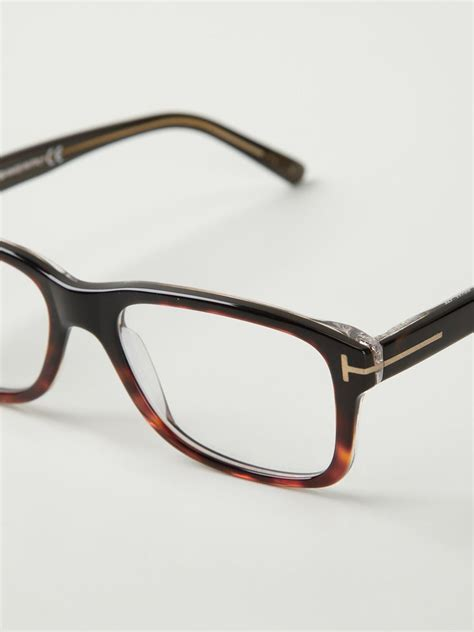 tom ford rectangular frame glasses in brown for lyst