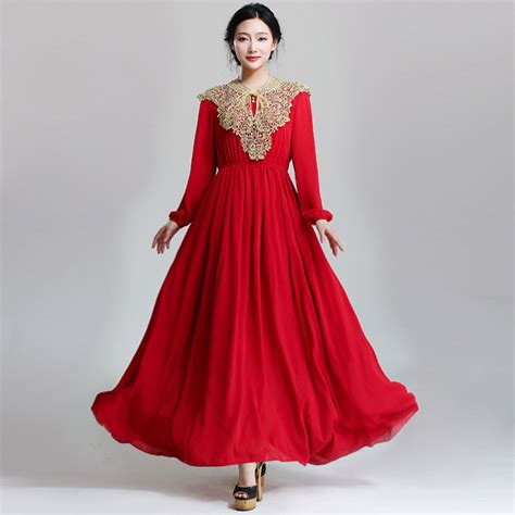 muslim long dress 2014 2016 senior women s muslim formal dress long sleeve red