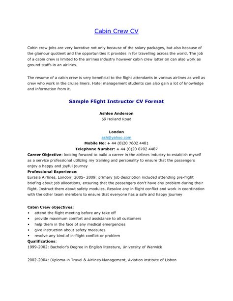 cabin crew resume sle with no experience resume for study