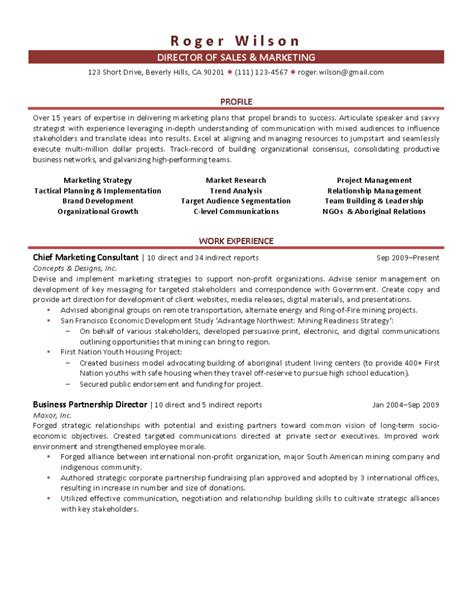 sales and marketing resumes sles director of sales and marketing resume