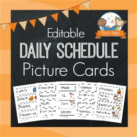 daily schedule cards template picture schedule cards blue pre k pages