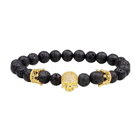 Sale Gelang Lava Unisex 8mm 8mm unisex lava rock handmade energy skull bangle chain rhinestone crown bracelet alex nld