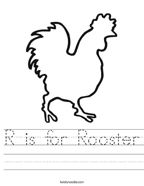 r is for rooster worksheet twisty noodle