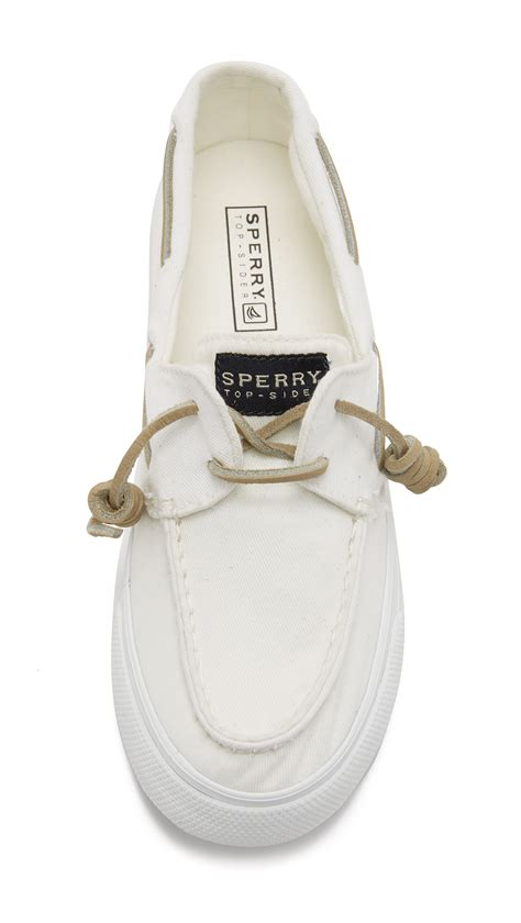 sperry white washed boat shoe lyst sperry top sider bahama washed boat shoes in white