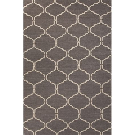 Rugs 2x3 by Flatweave Trellis Chain And Tile Pattern Gray Ivory Wool