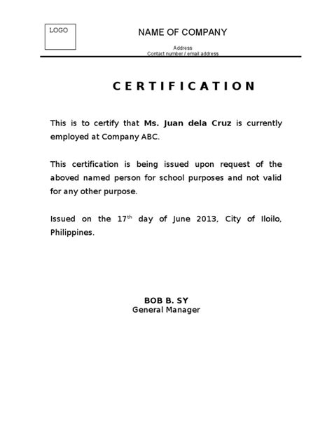 letter of certification of employment template certificate of employment currently employed planner