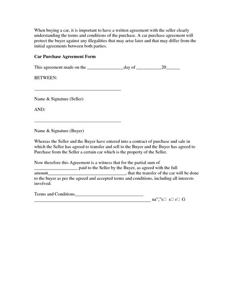 vehicle purchase agreement 10 best images of car buyer seller agreement car