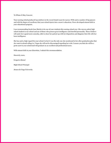 Letter Of Recommendation For College Nursing Student 12 Recommendation Letter Nursing School