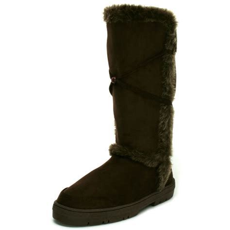 womens brown fur suede style knee high flat boots from