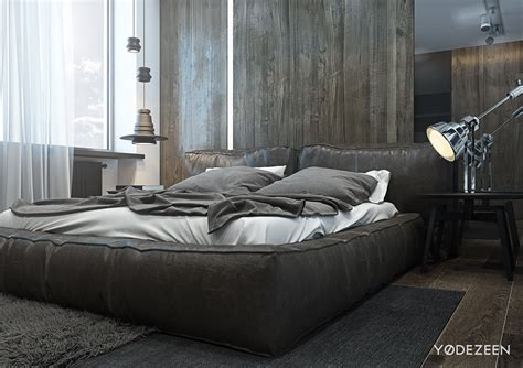 masculine bedroom a dark and calming bachelor bad with natural wood and concrete