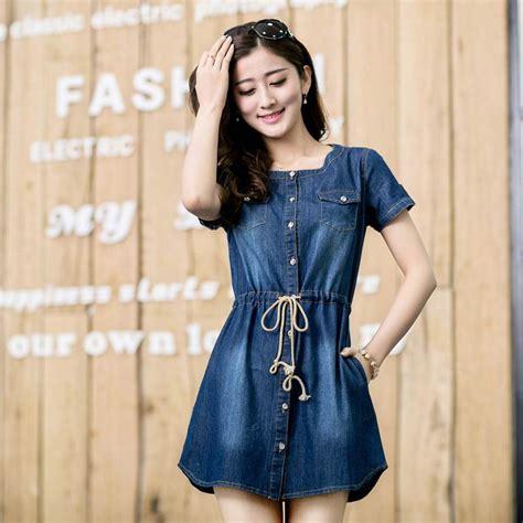 Sy0nzgb02 Big Size Blouse Dress Denim Size S M Size L 2015 plus size clothing slim water wash denim dress one
