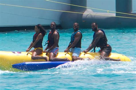 banana boat friends lebron awkwardly saddled with wade paul on banana boat