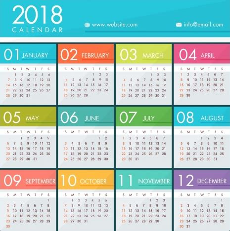 Calendar 2018 Template Design 2018 Calendar Template Bright Colorful Modern Design
