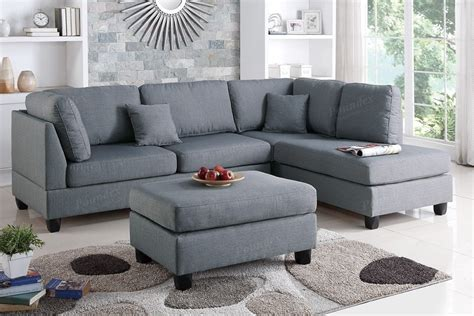 Reversible Chaise Sectional Sofa Grey Fabric Reversible Chaise Sectional Sofa